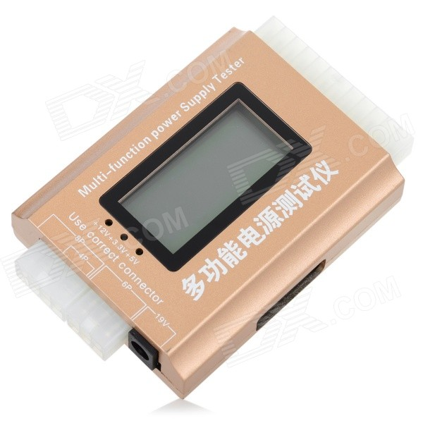 "Multi-Function 1.8"" LCD PC Computer Power Supply Tester - Golden"