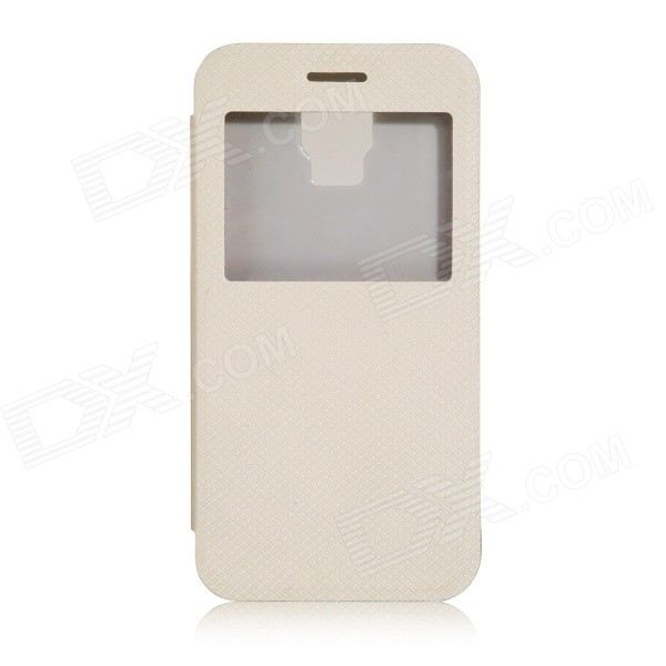 DOOGEE Protective Flip-Open PU + PC Case w/ Display Window / Stand for DOOGEE VOYAGER2 DG310 - White
