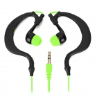 Universal Ear-Hook Style Earphones for Mobile Phone - Black + Green (115cm)