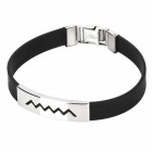 Fashionable Pressure Reduction Stainless Steel + Silicone Wrist Strap Bracelet - Silvery Black