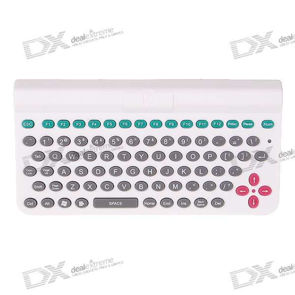 2.4GHz Mini Bluetooth Wireless Keyboard for PC/PDA/Cell Phones - White (2*AAA)