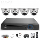 SANNCE 8CH 960H DVR System w / 4 x 800TVL Indoor Tag / Nacht-Metall-Dome-Kameras (500GB HDD, US-Stecker)