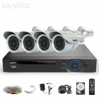 SANNCE 4CH 960H HDMI DVR System w/ 4 x 700TVL Waterproof Day/Night Cameras (1TB HDD, NTSC, US Plug)