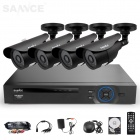 SANNCE 4CH 960H DVR System w/ 4 x 800TVL Waterproof Day/Night Bullet Cameras (500GB, NTSC, US Plug)