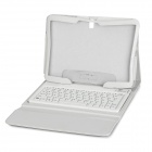 Bluetooth V3.0 76-Key Keyboard w/ Flip Open Case for Samsung Galaxy Tab 4 10.1 T530 / T531 - White