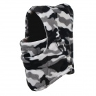Unisex Winter Outdoor Thickened Warm Polar Fleece Face Mask Hat - Black + White