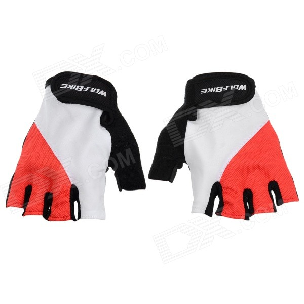 WOLFBIKE Half-Finger Gloves for Cycling - Red + White (M / Pair)