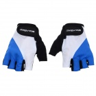WOLFBIKE Breathable Anti-Slip Silicone Half-Finger Gloves for Cycling - Blue + White (L / Pair)