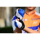 WOLFBIKE Half-Finger Gloves for Cycling - Blue + White (L / Pair)