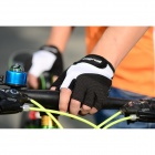 WOLFBIKE Breathable Anti-Slip Silicone Half-Finger Gloves for Cycling - Black + White (L / Pair)