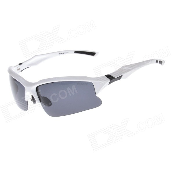 9001C4 TAC Polarized Lens PC Frame Cycling Goggles - Grey + White