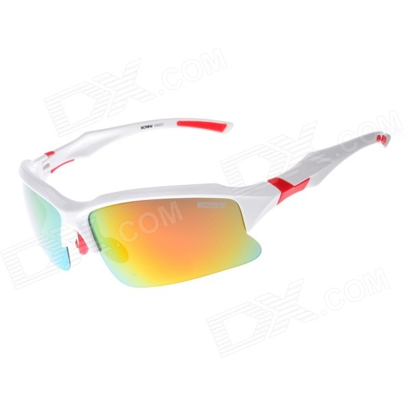9001C3 TAC Polarized Lens PC Frame Cycling Goggles - Red REVO + White