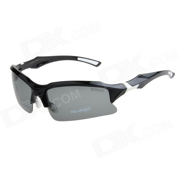 9001C4 TAC Polarized Lens PC Frame Cycling Goggles - Grey + Black