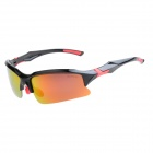 9001C4 TAC Polarized Red REVO Lens PC Frame Cycling Goggles - Black