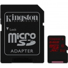 Kingston 64GB MicroSDHC UHS-I U3 Memory Card w/ Adaptor SDCA3/64GB for 4K Video
