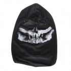 Skull Print UV Protection Reflective Hyper-Elastic CS Tactical Face Mask Headwear - Black + White