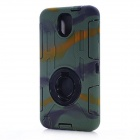 Protective Silicone Back Case w/ Stand for Samsung Galaxy Note 3 N9000 - Green Camo
