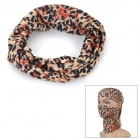 Outdoor Sports Leopard Print Polyester Microfiber Head Scarf - Brown + Black + Multicolor