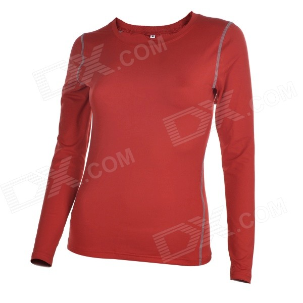 Femmes manches longues yoga fitness fitness t-shirt jersey - rouge (taille m)