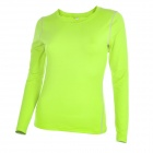 Women's Elastic Skinny Long-sleeved Yoga Fitness Sports T-shirt Jersey - Fluorescent Green (Size L)