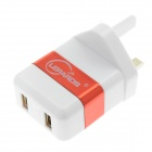 Lepards Smart Fast Charge Dual USB Adapter Charger - White + Jacinth (AC 100~240V / UK Plug)