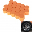 E0182 21# Hexagonal Nut Silicone Car Wheel Hub Screw Decoration Covers - Orange (24mm / 20 PCS)