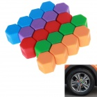 17# Hexagonal Nut Silicone Car Wheel Hub Screw Decoration Covers - Blue + Red (20 PCS)