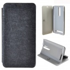 Protective PU Leather + PC Case w/ Stand for ASUS ZenFone 2 - Black
