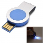 360 Grad-Dreh USB 2.0 Flash Drive w / LED - Blau + Silber (8GB / 1 x CR2016)