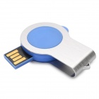 360 'rotary USB 2.0 flash drive w / LED - azul + plata (4 GB, 1 * CR2016)
