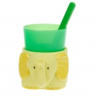 Lovely Elephant Style Plastic Cup + Toothbrush + Cup Base Set for Children - Yellow + Green