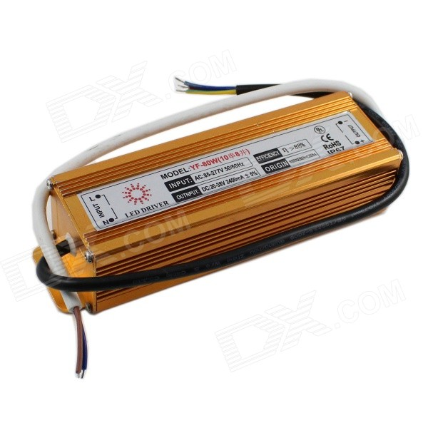 YF-80W Waterproof 80W LED Power Supply Driver for Projection LampLED Power Drivers<br>ModelYF-80WMaterialAluminum alloy caseForm  ColorGoldenQuantity1 DX.PCM.Model.AttributeModel.UnitWater-proofIP67Input Voltage85~277 DX.PCM.Model.AttributeModel.UnitOutput Voltage20~38 DX.PCM.Model.AttributeModel.UnitWorking Temperature-20~60 DX.PCM.Model.AttributeModel.UnitOutput Current2400 DX.PCM.Model.AttributeModel.UnitInput Current0.55 DX.PCM.Model.AttributeModel.UnitRated Working VoltageAC 85~277V / DC 20~38 DX.PCM.Model.AttributeModel.UnitWorking CurrentInput: 0.55A / output: 2.4 DX.PCM.Model.AttributeModel.UnitPacking List1 x LED power supply driver (60cm-cable)<br>