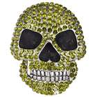 Shining Crystal Skull Alloy Belt Buckle - Green + Black