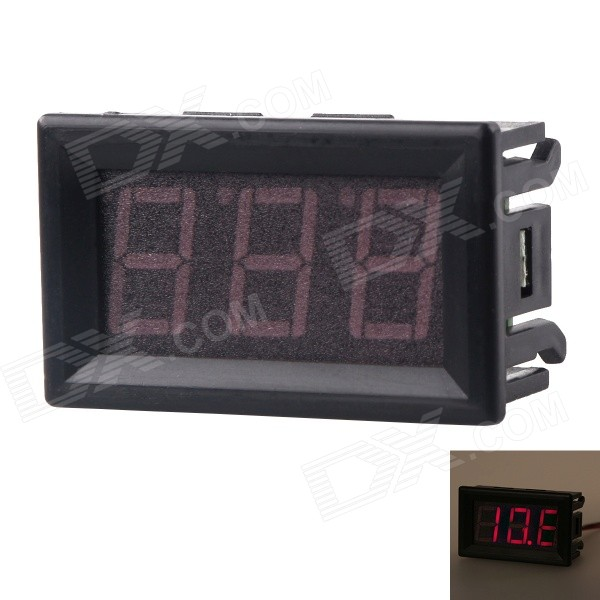 "DC 7V to 150V Red LED 0.56"" Display 2-Wire 3-Digit Panel Voltage Meter Voltmeter - Black"