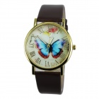 Women's Fashion Butterfly Pattern PU Band Analog Quartz Watch - Brown (1 x 377)