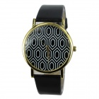 Women's Polygon Pattern PU Band Analog Quartz Casual Watch - Black
