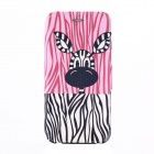 Zebra Pattern Protective Flip-Open PU Case Cover w/ Stand / Card Slot for IPHONE 6 - Pink + Black