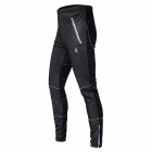 WOLFBIKE BC116-3XL Men's Outdoor Sports Warm Fleece Long Cycling Pants - Black (XXXL)