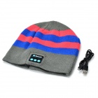 Bluetooth Stripe Woven Warm Music Hat - Grey + Pink + Blue