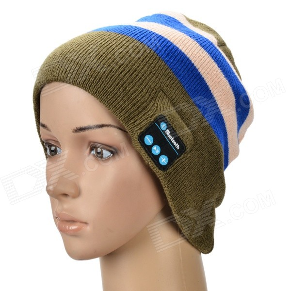 Bluetooth Stripe Woven Warm Music Hat - Deep Green + Blue + White