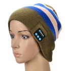 Stylish Bluetooth V3.0 Stripe Woven Acrylic Fiber Warm Music Hat - Deep Green + Blue + White