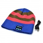 Stylish  Bluetooth V3.0 Stripe Woven Acrylic Fiber Warm Music Hat - Blue + Deep Pink + Multicolor
