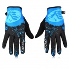 NUCKILY PD01 Women's Ultra-Thin Full-Finger Touch Screen Cycling Gloves - Black + Blue (XL / Pair)