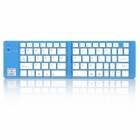 Mini Foldable Wireless Bluetooth V3.0 66-Key Keyboard w/ Stand - Silver + White + Blue