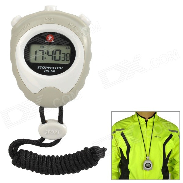 "PS-60 1.2"" LCD Screen Stopwatch / Chronograph for Running - White"