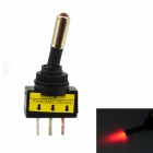 Jtron 12V Car Modification Power Toggle Switch w/ Red LED Indicator - Black + Red