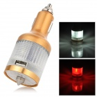K-T101 Multifunctional USB Car Charger w/ LED Torch / Red Light Warning Lamp / Safety Hammer - Gold