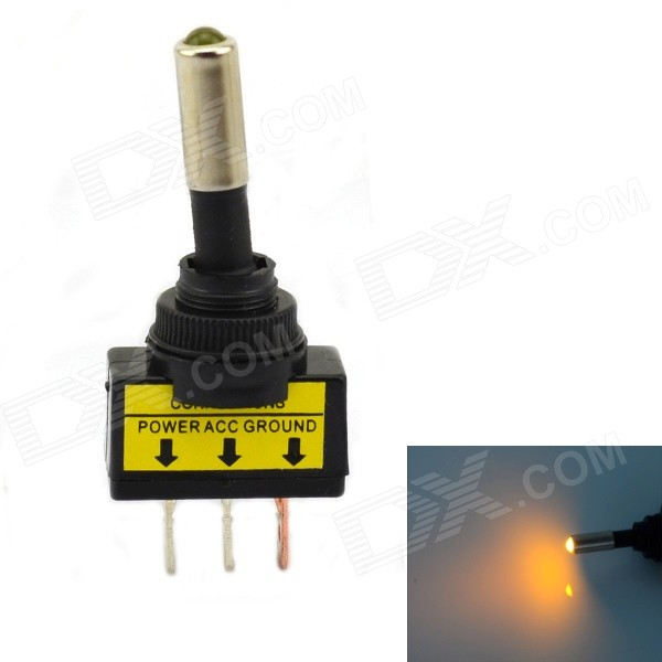 Jtron 12V Car Modification Power Switch Yellow LED - Black + Yellow