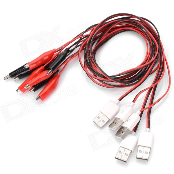 Alligator Clips to USB Male Power Test Cable Set - Black + Red (80cm / 5 PCS)