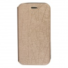 Protective PU Leather Flip-Open Case w/ Stand for Alcatel One Touch Pop D5 - Gold